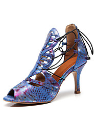 Недорогие -Жен. Обувь для латины Полиуретан Сандалии Животные принты Тонкий высокий каблук Персонализируемая Танцевальная обувь Синий / Тренировочные