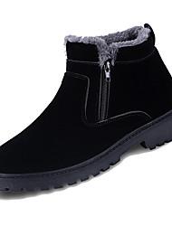 Недорогие -Муж. Зимние сапоги Кожа Зима На каждый день Ботинки Сохраняет тепло Сапоги до середины икры Черный / Серый / Хаки