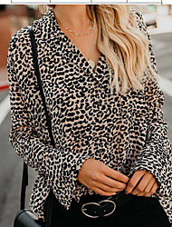 baratos -T-shirt solta de algodão plus size - leopardo v neck