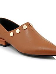 abordables -Femme Chaussures de confort Cuir Nappa Printemps Mocassins et Chaussons+D6148 Block Heel Noir / Marron