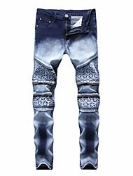 Недорогие -мужские хлопок тонкие джинсовые брюки - цветной блок