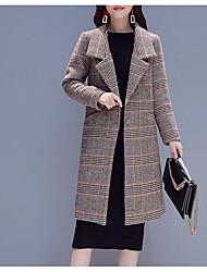 Недорогие -длинное пальто женщин - клетчатый воротник