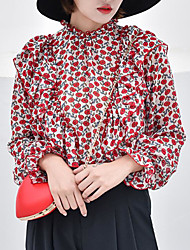 Недорогие -женская выбирая тонкую блузку - цветочная шея экипажа