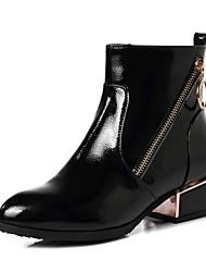 Недорогие -Жен. Полиуретан Наступила зима На каждый день Ботинки На низком каблуке Круглый носок Ботинки Черный / Синий / Вино / Леопард