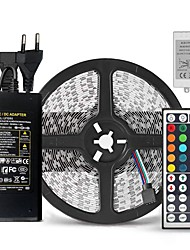 Недорогие -Ziqiao 5 м smd5050 RGB светодиодные полосы водонепроницаемый 60led / м DC12V 300 светодиодов и 44 ключа RGB светодиодный контроллер и 12 В 5а 60 Вт адаптер