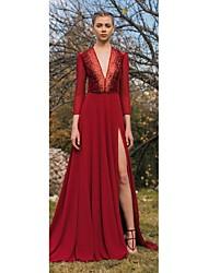 billige -A-linje Hængende halsudskæring Børsteslæb Chiffon Kjole med Perlearbejde / Opdelt front ved TS Couture®