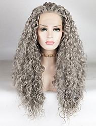 voordelige -Pruik Lace Front Synthetisch Haar Watergolf / Losse krul Grijs Gratis deel Grijs 180% Human Hair Density Synthetisch haar 18-26 inch(es) Dames Modieus Design / Zacht / Verstelbaar Grijs Pruik Lang
