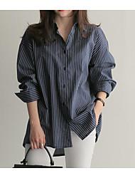 Недорогие -женская рубашка - полосатый воротник рубашки