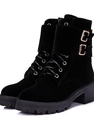 Недорогие -Жен. Армейские ботинки Замша Наступила зима Английский Ботинки На толстом каблуке Круглый носок Сапоги до середины икры Пряжки Черный