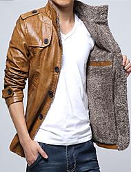 Недорогие -Муж. Кожаные куртки Уличный стиль / Панк & Готика - Однотонный Пэчворк