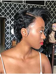 Недорогие -человеческие волосы Remy Полностью ленточные Парик Стрижка боб Стрижка каскад Боковая часть стиль Бразильские волосы Естественные волны Шелковисто-прямые Нейтральный Парик 130% Плотность волос