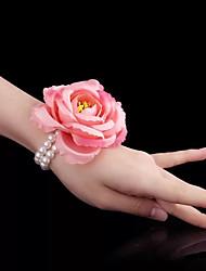 Недорогие -Свадебные цветы Букетик на запястье Свадьба / Свадебные прием Бусины / Воловья шкура / Ткань 0-10 cm