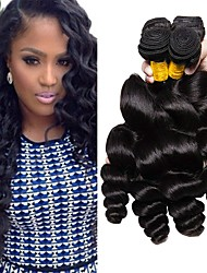 Недорогие -4 Связки Малазийские волосы Свободные волны Натуральные волосы / Необработанные натуральные волосы Удлинитель / Пучок волос / One Pack Solution 8-28 дюймовый Нейтральный Естественный цвет