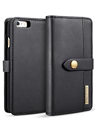 Недорогие -Кейс для Назначение Apple iPhone 6s / iPhone 6 Кошелек / Бумажник для карт / со стендом Чехол Однотонный Твердый Кожа PU
