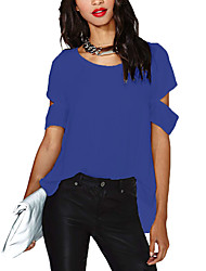 Недорогие -женский плюс размер свободная футболка - сплошной цветной шею