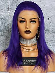 Недорогие -Не подвергавшиеся окрашиванию Полностью ленточные Парик Глубокое разделение С конским хвостом стиль Бразильские волосы Шелковисто-прямые Фиолетовый Парик 150% Плотность волос 12-24 дюймовый