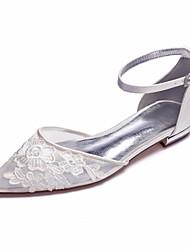 abordables -Femme Chaussures transparentes Satin / Maille Printemps été Doux Chaussures de mariage Talon Plat Bout pointu Strass / Paillette Brillante Blanc / Ivoire / Mariage / Soirée & Evénement