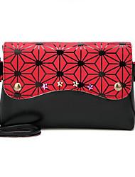 baratos -Mulheres Bolsas PU Bolsa de Ombro Estampa Colorida Rosa / Bege / Cinzento