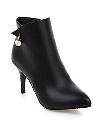 billige -Dame Fashion Boots Syntetisk Vinter Støvler Stilethæle Lukket Tå Ankelstøvler Sort / Grå / Rød
