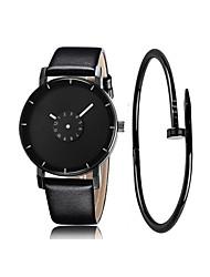 Недорогие -Муж. Нарядные часы Кварцевый Секундомер Новый дизайн Cool Кожа Группа Аналоговый Блестящие Мода Черный / Белый - Серый Стальной Черный / Белый Один год Срок службы батареи