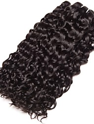 Недорогие -3 Связки Бразильские волосы Волнистые 8A Натуральные волосы Человека ткет Волосы Пучок волос Накладки из натуральных волос 8-28 дюймовый Естественный цвет Ткет человеческих волос Машинное плетение