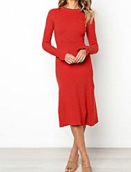 baratos -Mulheres Básico / Moda de Rua Bainha / Tricô Vestido Sólido Médio