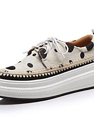 Недорогие -Жен. Комфортная обувь Конский волос Лето Кеды На плоской подошве Черный / Желтый