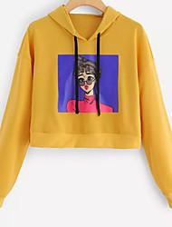 baratos -o hoodie longo da luva das mulheres que sai - caráter encapuçado
