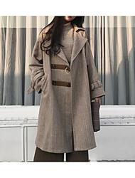 billige -kvinder går ud lang slank frakke - farveblok