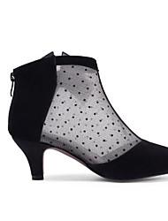billige -Dame Fashion Boots Ruskind / Læder Forår Støvler Lave hæle Lukket Tå Ankelstøvler Sort / Mandel