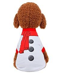 billiga -Hund / Katt Väst Hundkläder Enfärgad Vit / Röd Tyg Kostym För husdjur Unisex Fest / afton / Söt Stil