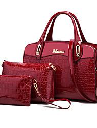 baratos -Mulheres Bolsas PU Conjuntos de saco 3 Pcs Purse Set Crocodilo Preto / Azul Escuro / Vinho