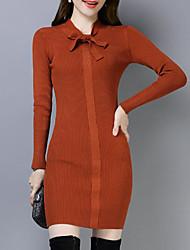 Недорогие -женский выход тонкий свитер платье выше шеи экипажа