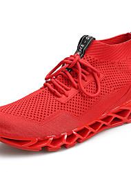 abordables -Homme Chaussures de confort Tricot Automne Sportif / Décontracté Chaussures d'Athlétisme Course à Pied Massage Noir / Rouge / Noir / Rouge