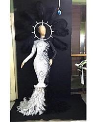 baratos -Fantasia de Dança Roupas de Dança Exótica / Body de Strass Mulheres Espetáculo Elastano Penas / Pêlo / Detalhes em Pérolas / Cristal / Strass Manga Longa Vestido
