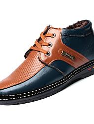 Недорогие -Муж. Fashion Boots Кожа / Полиуретан Зима На каждый день Ботинки Нескользкий Ботинки Контрастных цветов Желтый / Коричневый