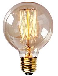 Недорогие -1 шт. Старинные лампочки Эдисона со спиральной нитью накала 40 Вт с регулируемой яркостью E27 G95 круглый шар большой античный светло-золотой отделкой янтарь промышленного дизайна