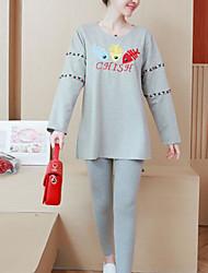 abordables -t-shirt pour femme, en vrac - dessin animé / bloc de couleur col rond