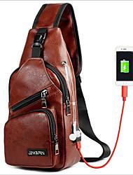 Недорогие -Муж. Мешки PU Слинг сумки на ремне Молнии Черный / Коричневый / Темно-коричневый
