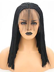 Недорогие -Синтетические кружевные передние парики Косые оплетки Стиль Средняя часть Лента спереди Парик Черный Черный Искусственные волосы 16 дюймовый Жен. Регулируется / Жаропрочная Черный Парик Средняя длина