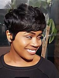 Недорогие -Remy U-образный Полностью ленточные Парик Бразильские волосы Естественные волны Шелковисто-прямые Парик Стрижка боб Стрижка каскад Боковая часть 130% Плотность волос / Парик в афро-американском стиле