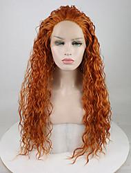 Недорогие -Синтетические кружевные передние парики Жен. Свободные волны / Волнистые Светло-коричневый Свободная часть 180% Человека Плотность волос Искусственные волосы 18-26 дюймовый / Лента спереди