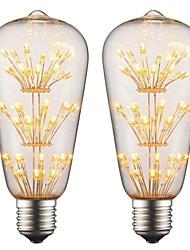 Недорогие -2w e27 светодиодная лампа накаливания 3d эффект фейерверка ac 220v - 240v для бара рождественская вечеринка вечерняя атласная подсветка (2 шт.)