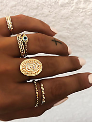 Women's Retro Knuckle Ring Ring Set Multi Finger Ring Resin Alloy Sun Eyes Ladies Vintage Punk Boho Ring Jewelry Gold / Silver For Gift Daily Street Club ...