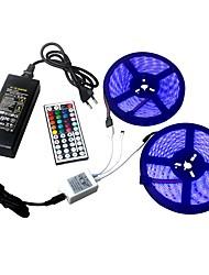 Недорогие -Ziqiao 2 * 5 м / ряд 60 светодиодов / м светодиодные ленты DC12V SMD 5050 водонепроницаемый гибкий светодиодные полосы света ключ RGB44 дистанционного