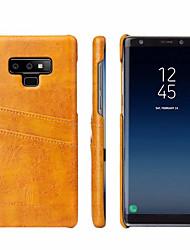 Недорогие -Кейс для Назначение SSamsung Galaxy Note 9 Бумажник для карт Кейс на заднюю панель Однотонный Твердый Настоящая кожа