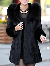 cheap -Women's Holiday / Going out Street chic / Sophisticated Spring / Fall & Winter Long Fur Coat, Solid Colored Hooded Long Sleeve Faux Fur Black XL / XXL / XXXL / Loose