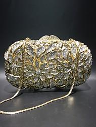 Недорогие -Жен. Мешки Сплав Вечерняя сумочка Кристаллы / С отверстиями Сплошной цвет Золотой