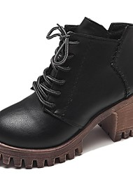 Недорогие -Жен. Fashion Boots Полиуретан Осень Ботинки На толстом каблуке Круглый носок Черный / Темно-коричневый