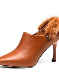 abordables -Femme Fashion Boots Cuir Nappa Hiver Mocassins et Chaussons+D6148 Talon Aiguille Bout fermé Bottine / Demi Botte Noir / Marron